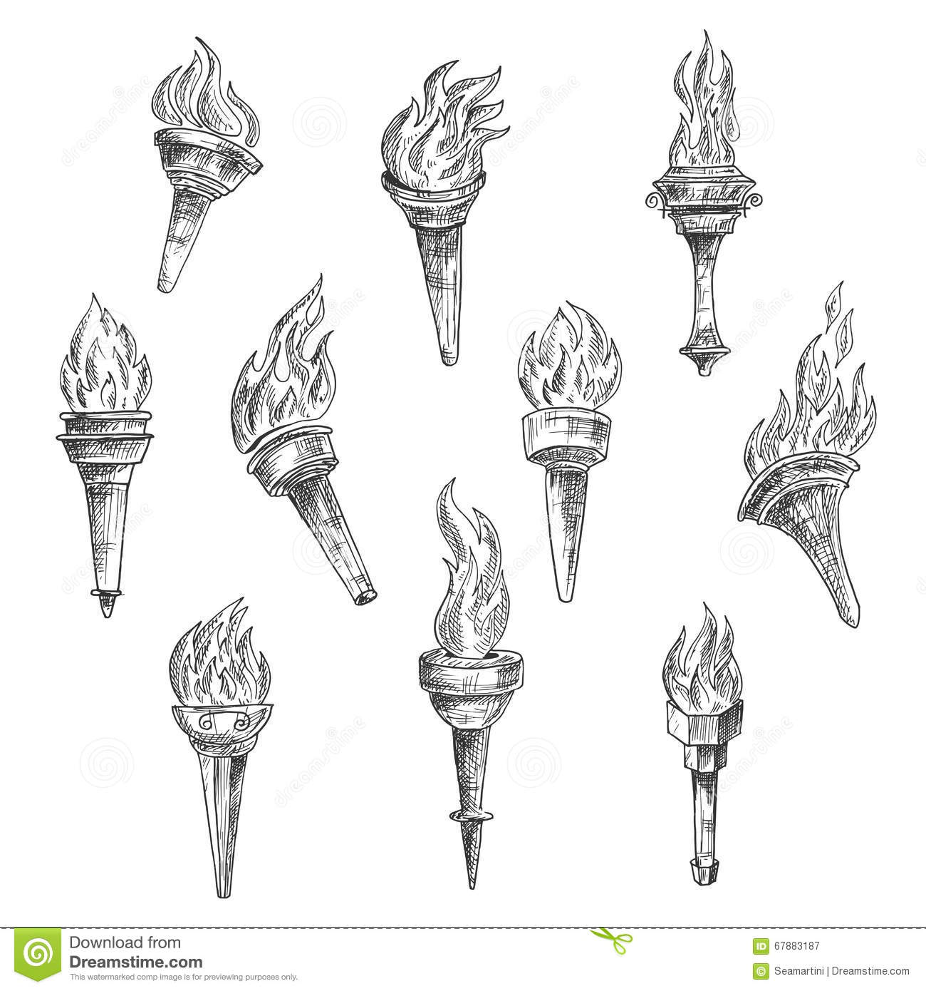 Burning Torches In Vintage Sketch Style Stock Vector