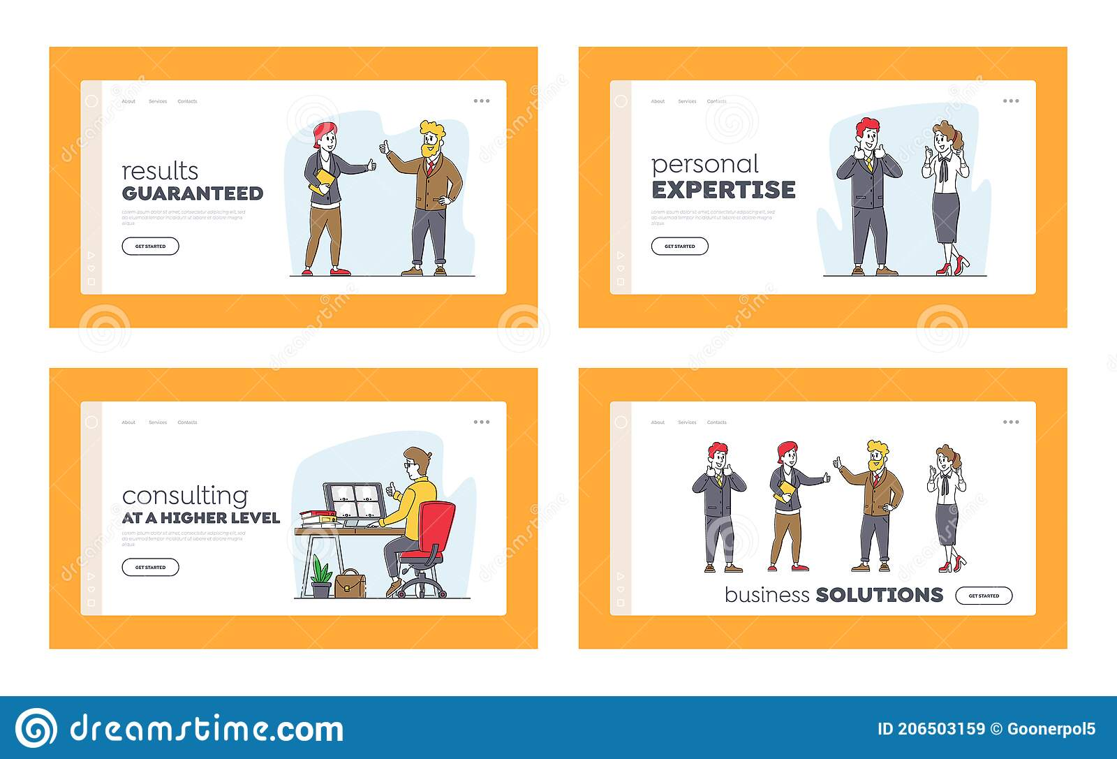 Give the heading as the name of the project. Business Agreement Landing Page Template Set Businesspeople Partner Characters Meet For Project Discussion Partnership Stock Illustration Illustration Of Coordinate Character 206503159