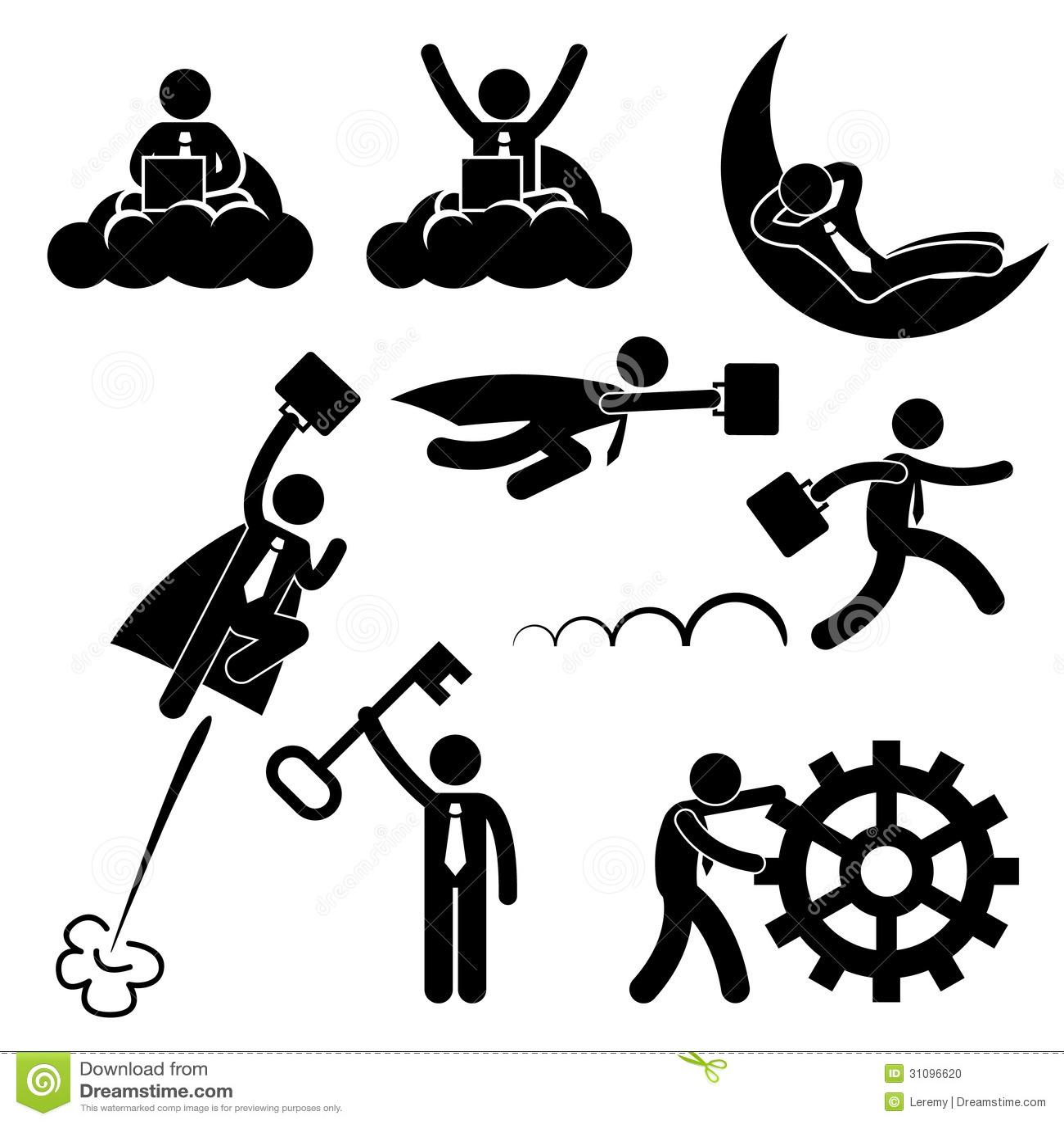 Business Businessman Work Concept Stick Figure Pic Stock