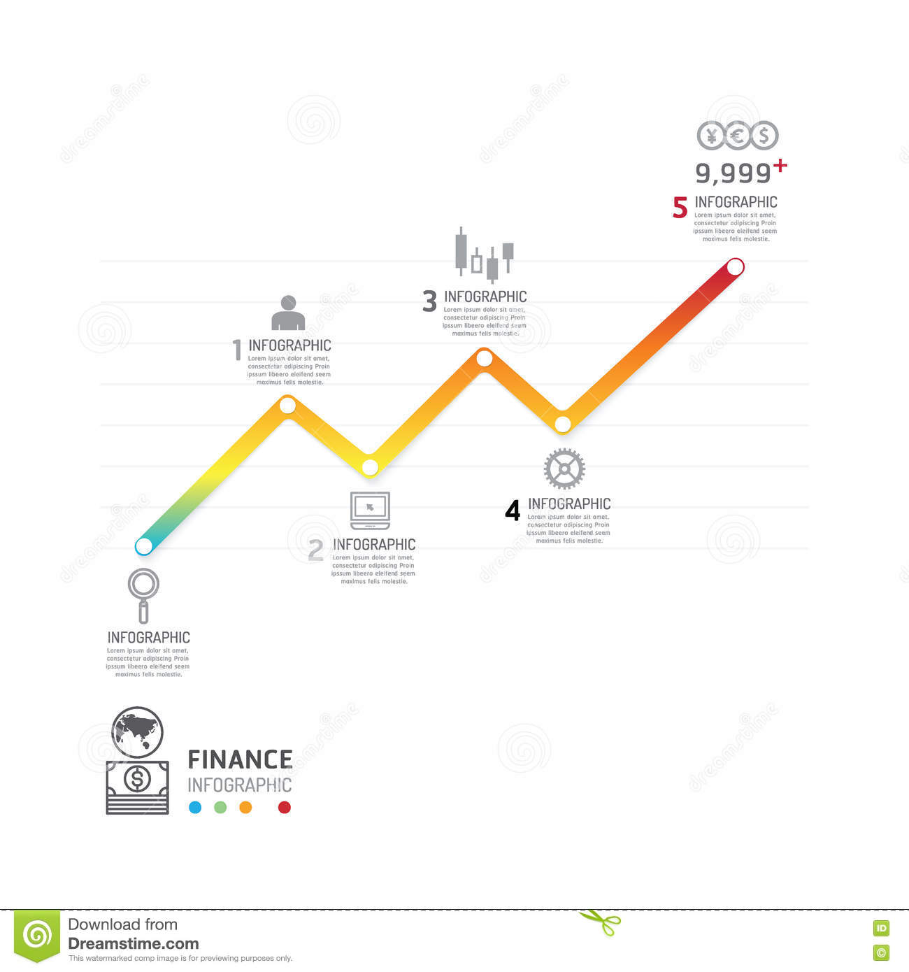 Business Data Process Chart Abstract Elements Of Graph Diagram Stock Vector