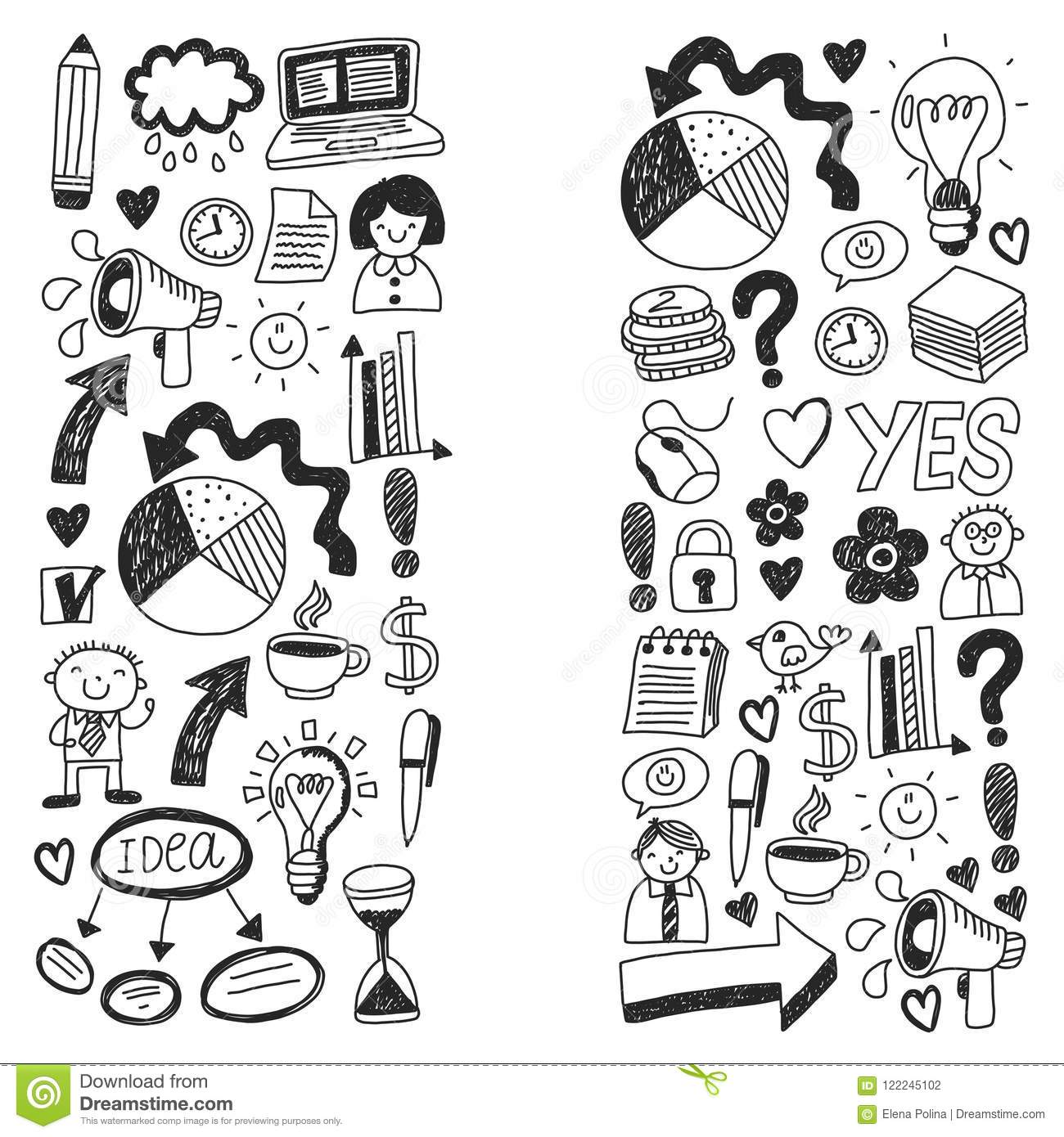 Business Doodles Social Media Icons Vector Background