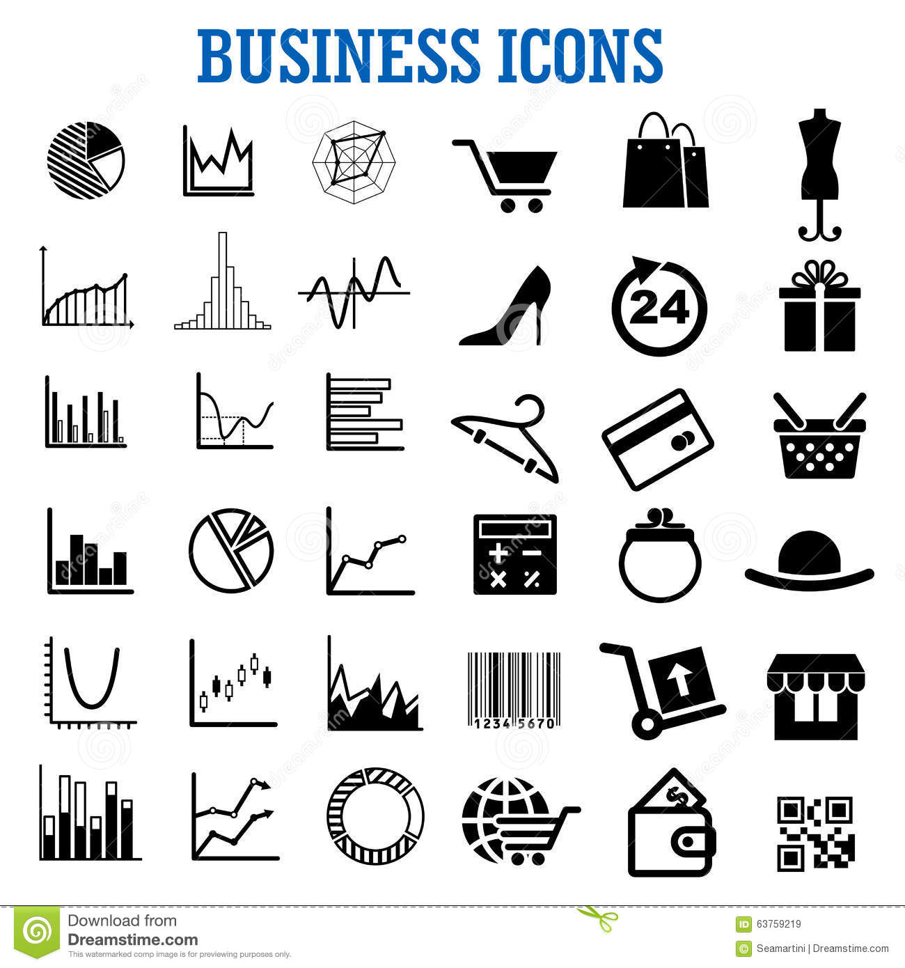 Business Finance Shopping And Retail Flat Icons Stock