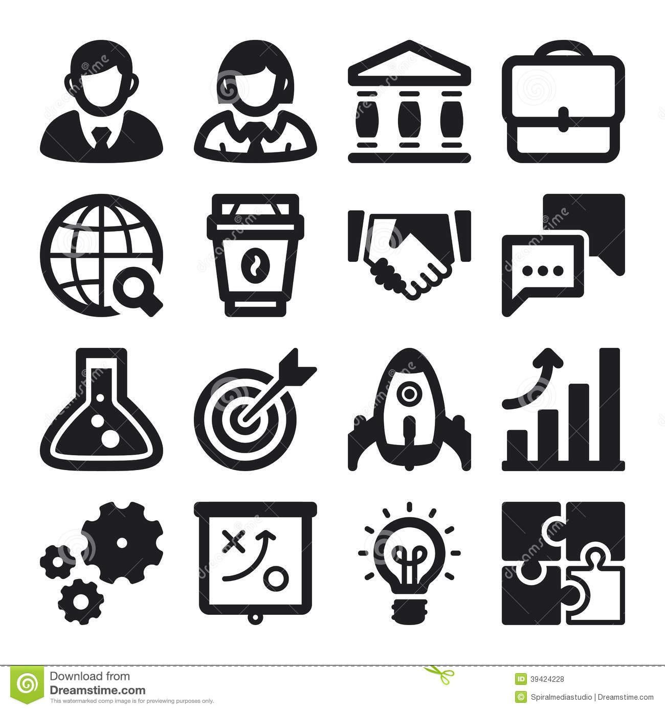 Business Flat Icons Black Stock Vector Illustration Of