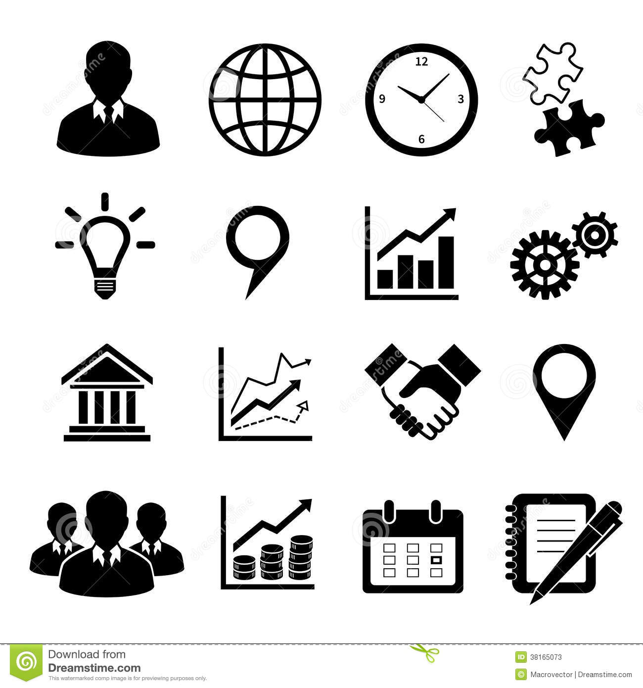 Business Icons Set For Infographics Stock Vector