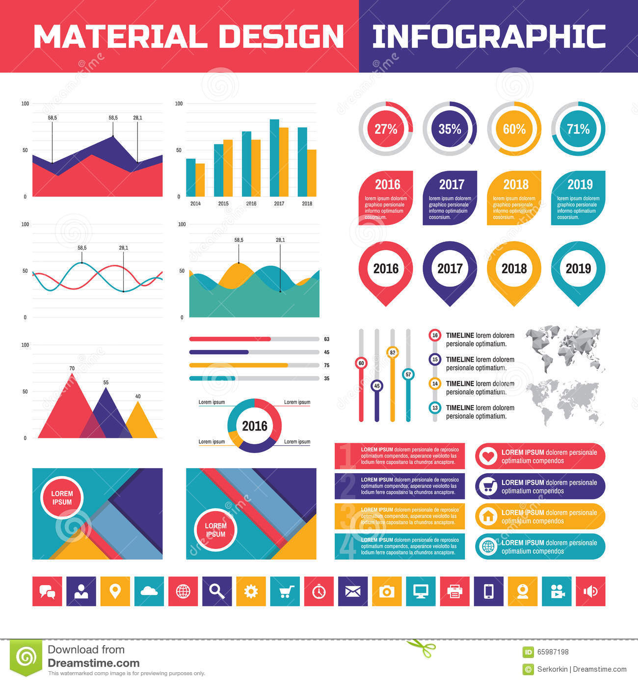 Business Infographic Vector Set In Material Design Style