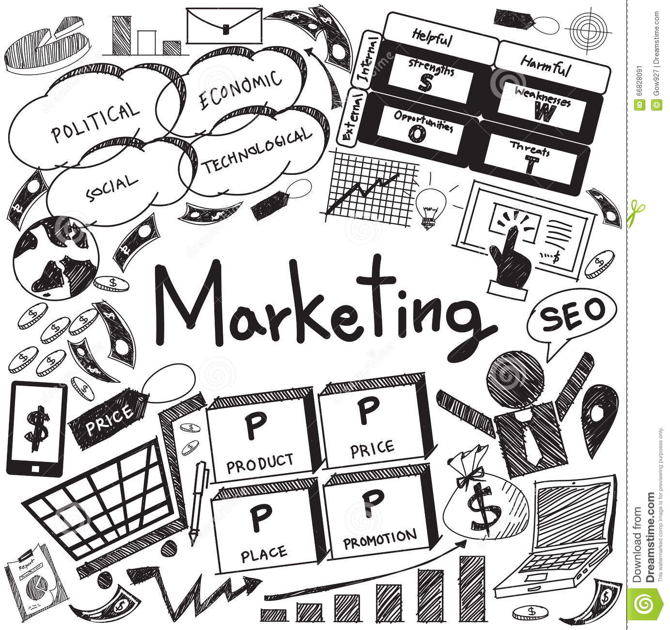 Business Management And Marketing Handwriting Doodle For