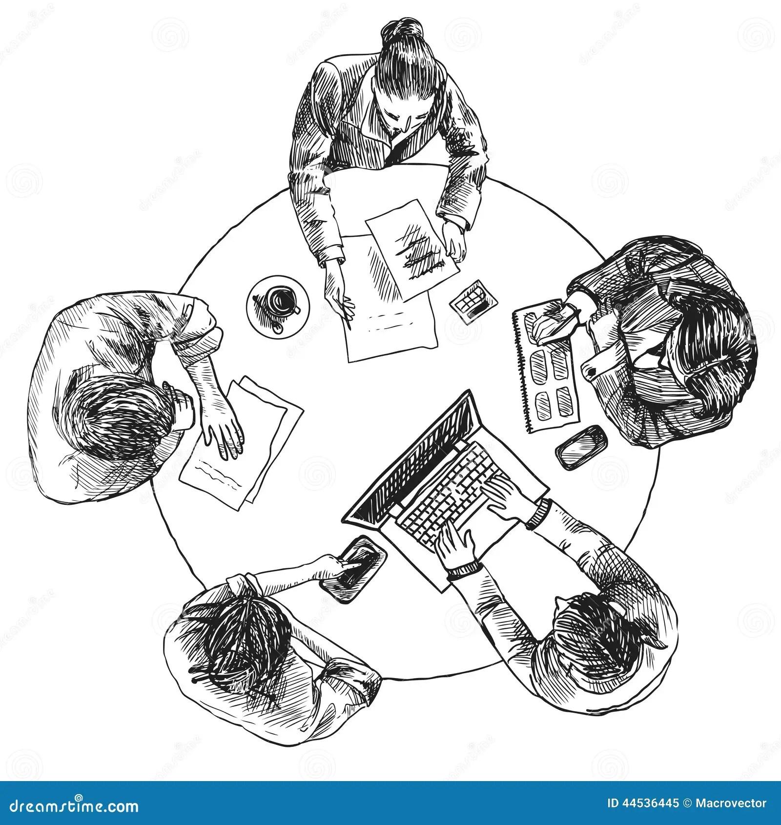 Business Meeting Top View Stock Vector