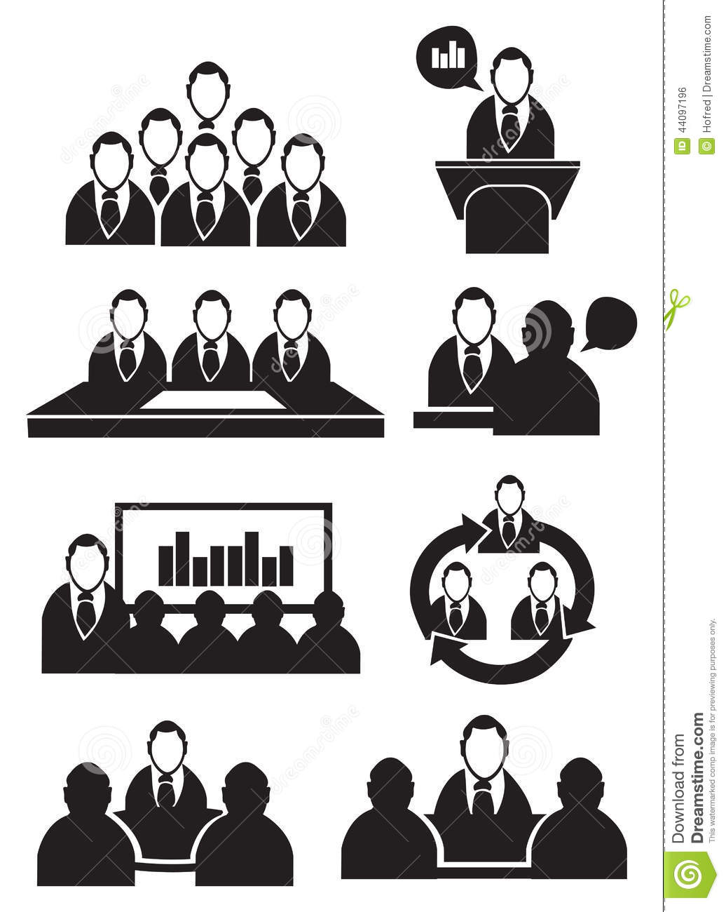 Business Meeting Vector Icon Set Stock Vector