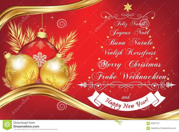business new year greeting card in many languages stock vector