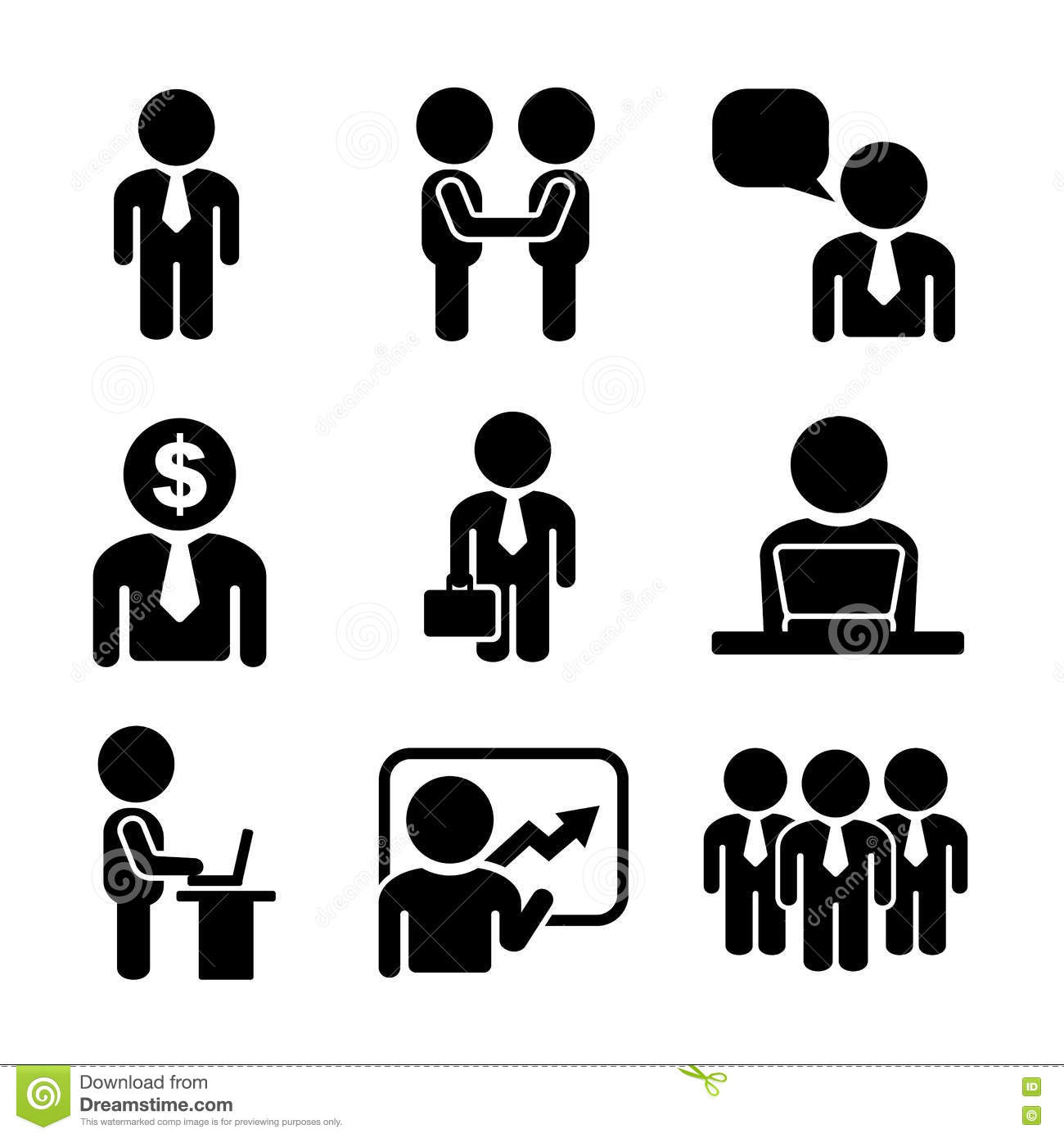 Business And Office People Icon Set Stock Vector