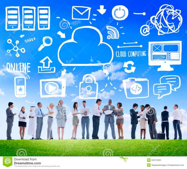 Business People Cloud Computing Data Discussion Team ...