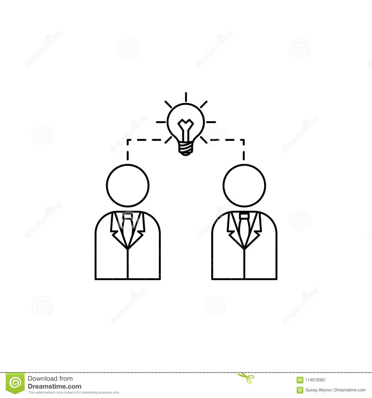 Business People And Connecting Light Bulb Icon Element Of