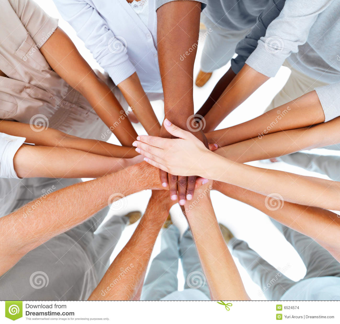 Business People Hands Overlapping To Show Teamwork Stock