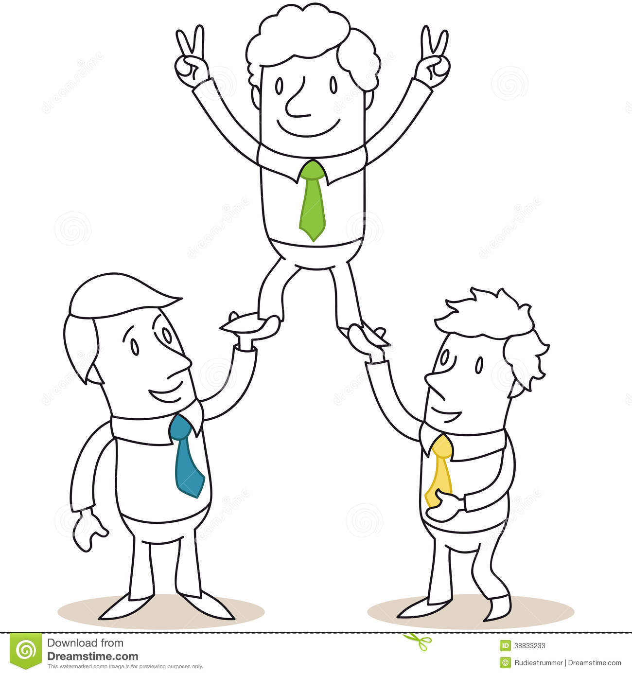Business People Holding Up Colleague Stock Vector