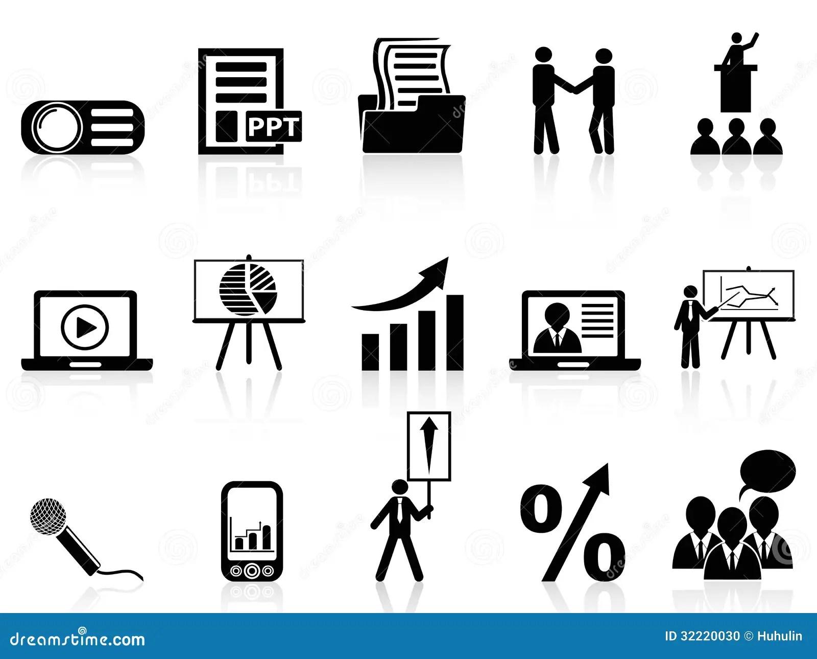 Business Presentation Icons Set Stock Photo