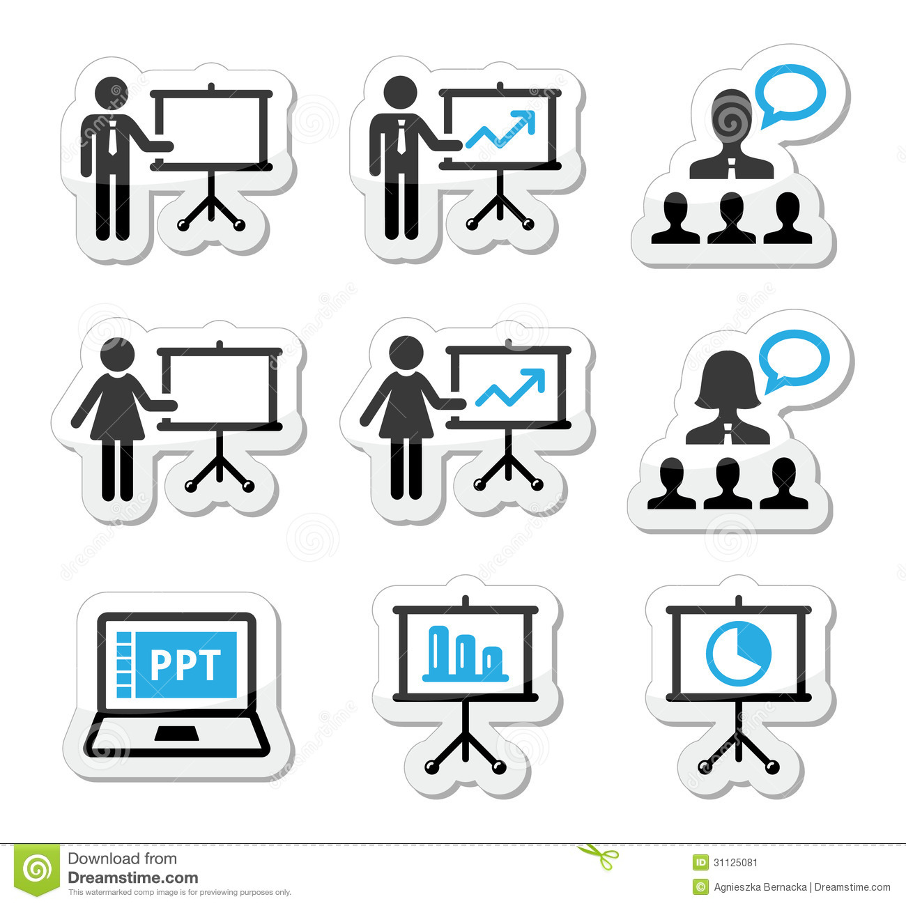Business Presentation Lecture Speech Icons Stock Illustration