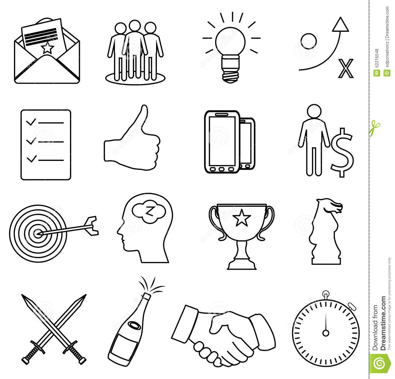 Business Productivity Line Icons Set Stock Vector