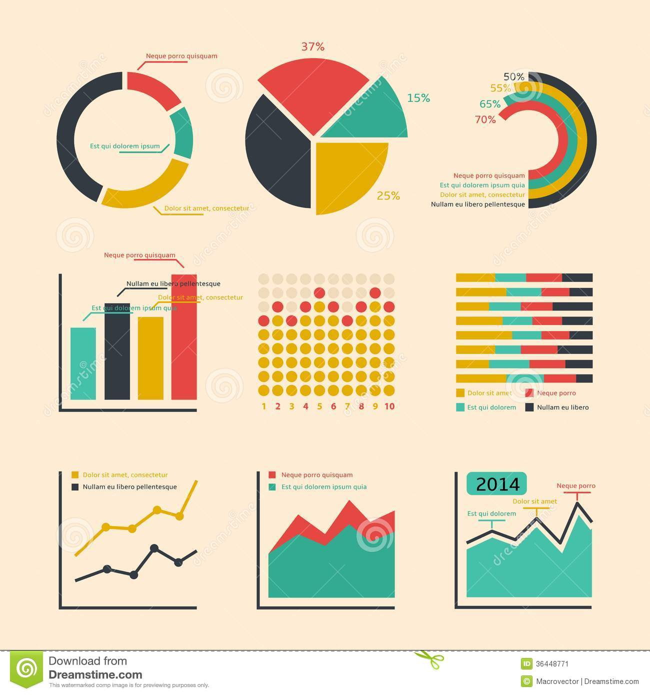 Business Ratings Graphs And Charts Stock Vector