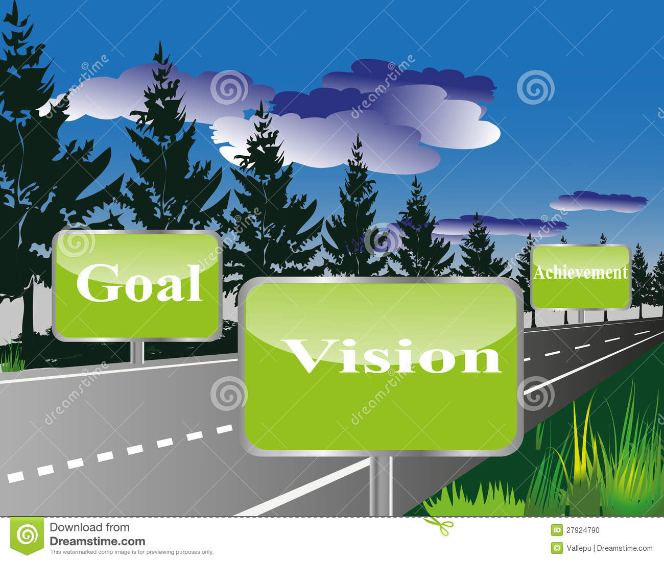 Business Roadmap Or Vision Or Goal Or Achievement Stock