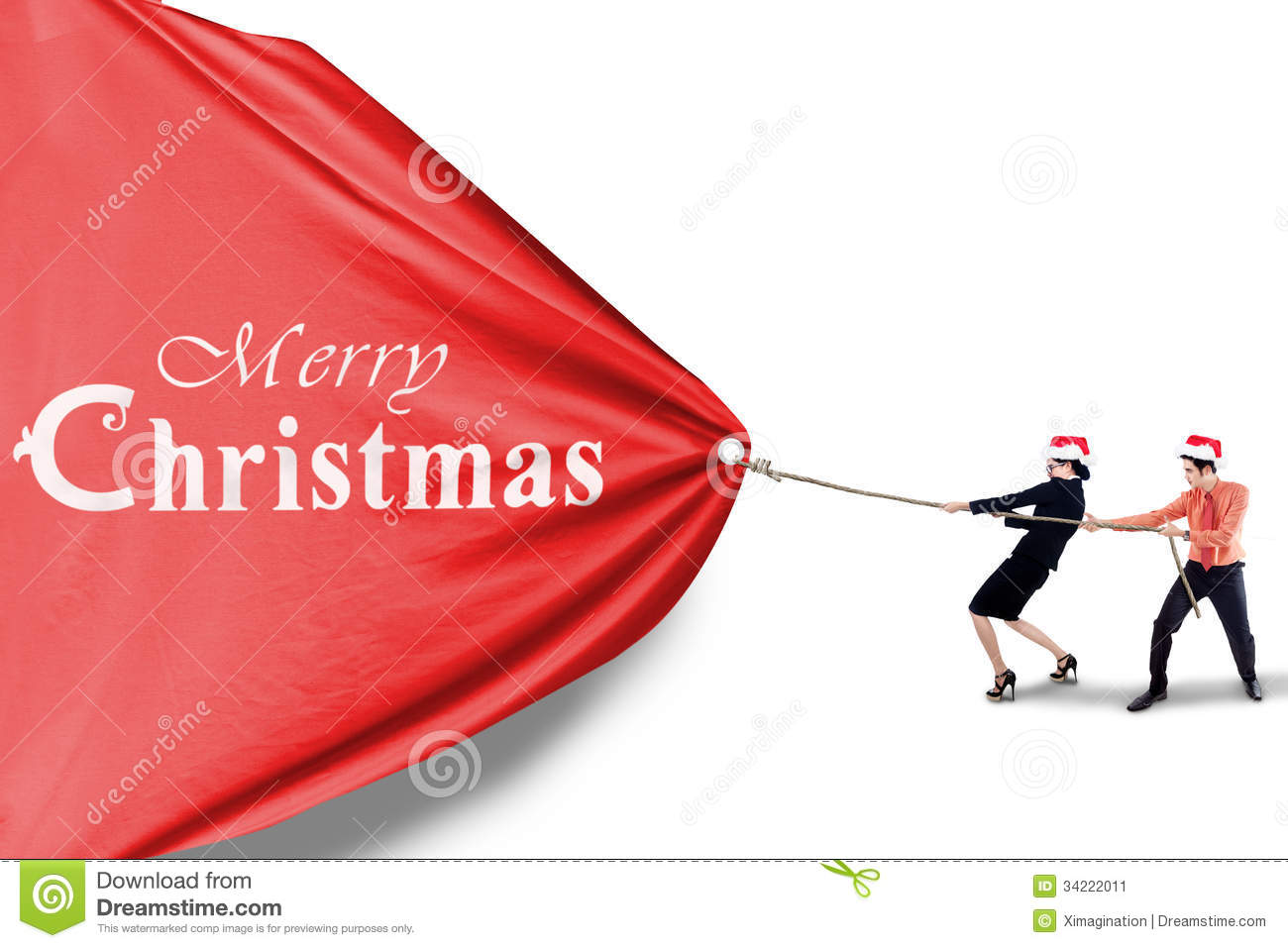 Business Team Pull Christmas Banner Stock Image Image