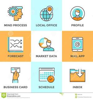 Business Workflow Line Icons Set Stock Vector  Image: 52687246