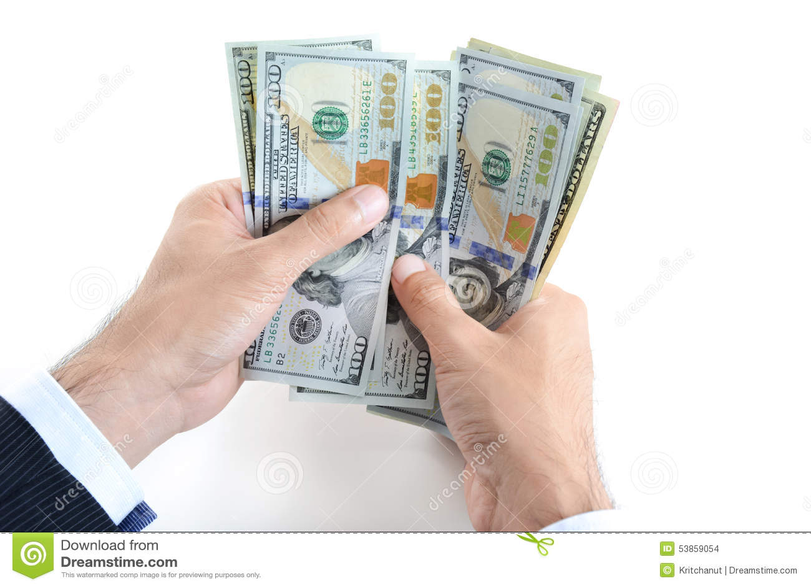 Businessman Hands Counting Money Us Dollar Usd Bills