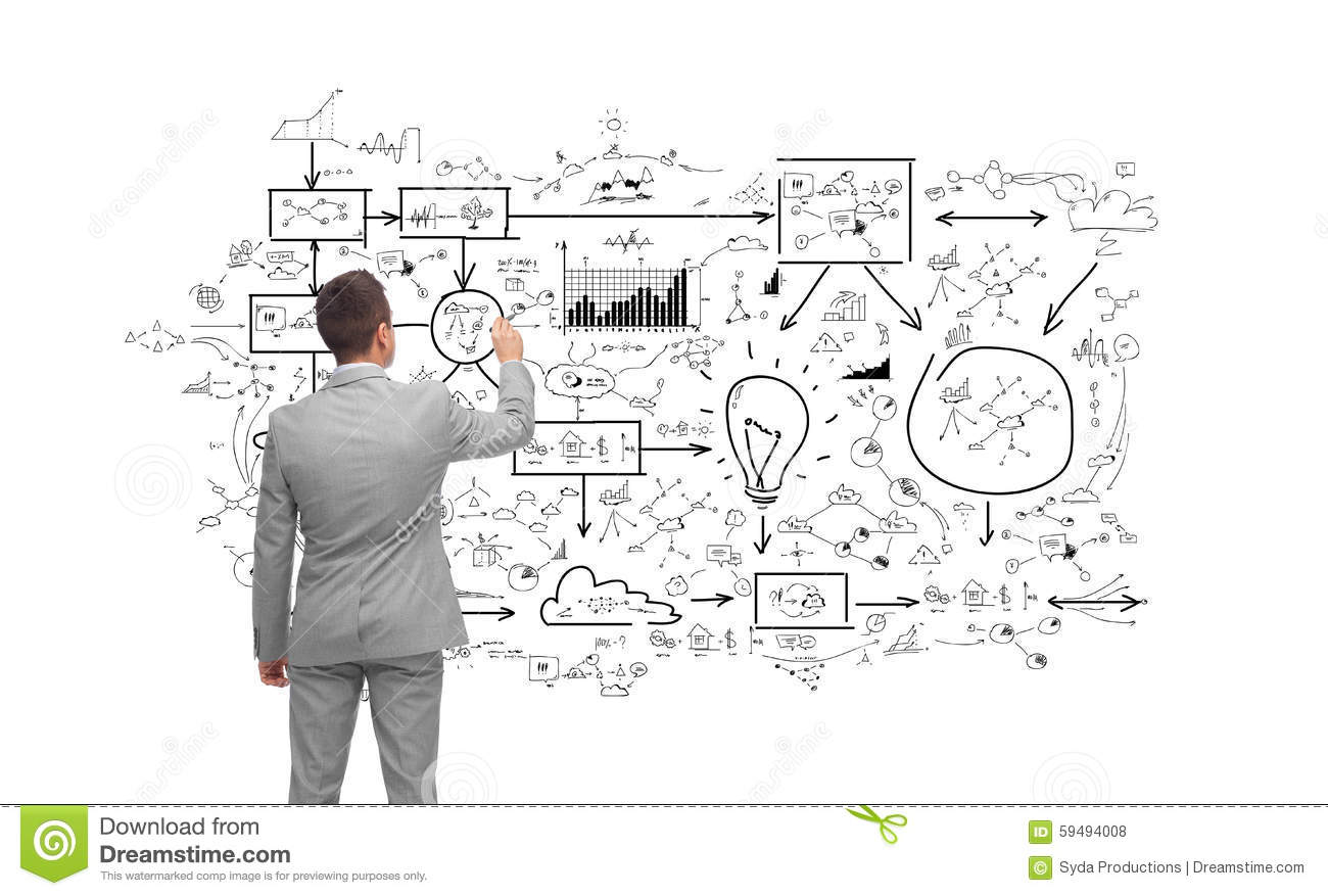 Businessman Drawing Business Icons Stock Image