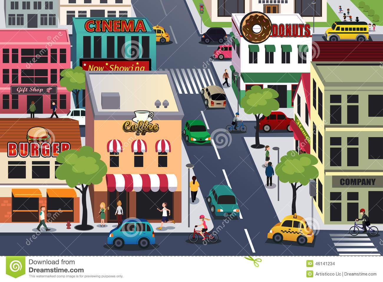 Busy City In The Morning Stock Vector Illustration Of