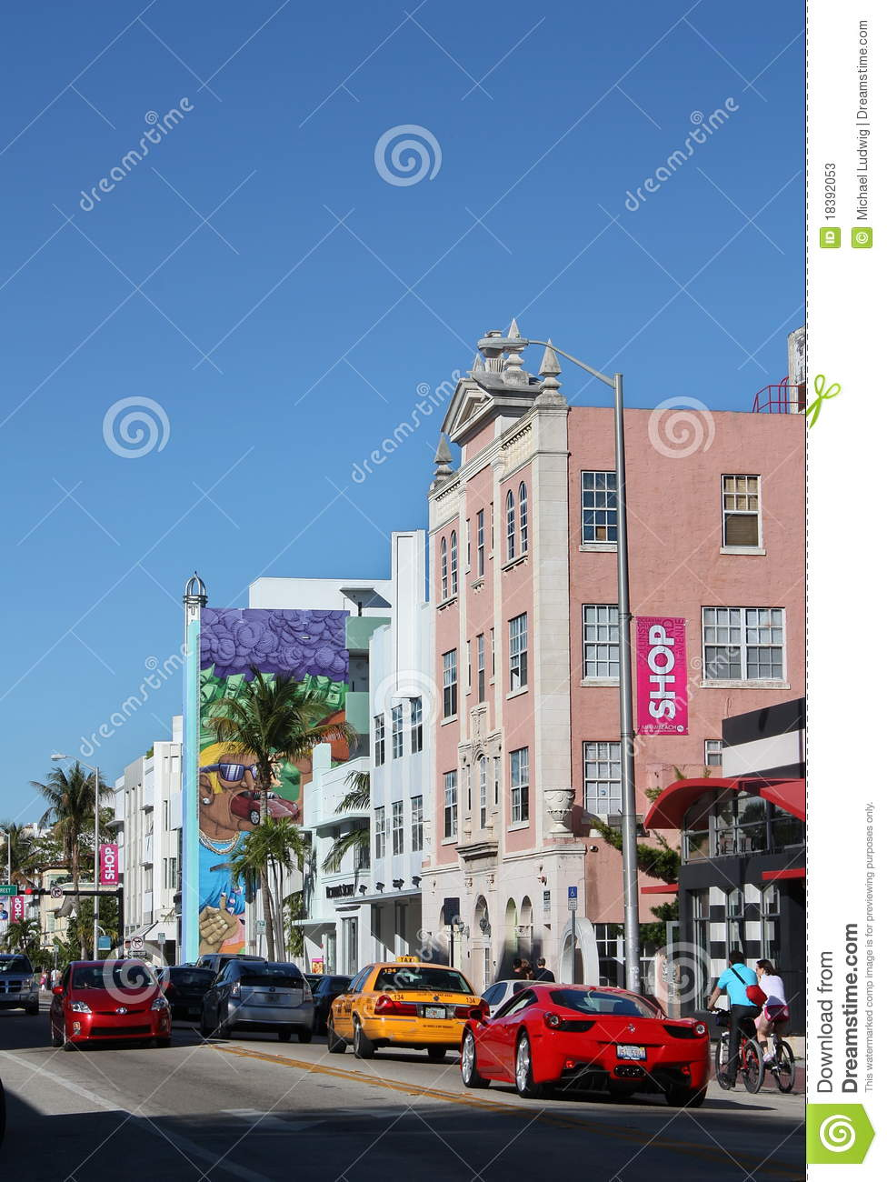Busy Street In South Beach Miami Editorial Stock Photo