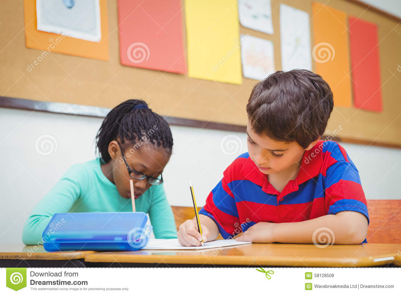 Busy Students Working On Class Work Stock Photo