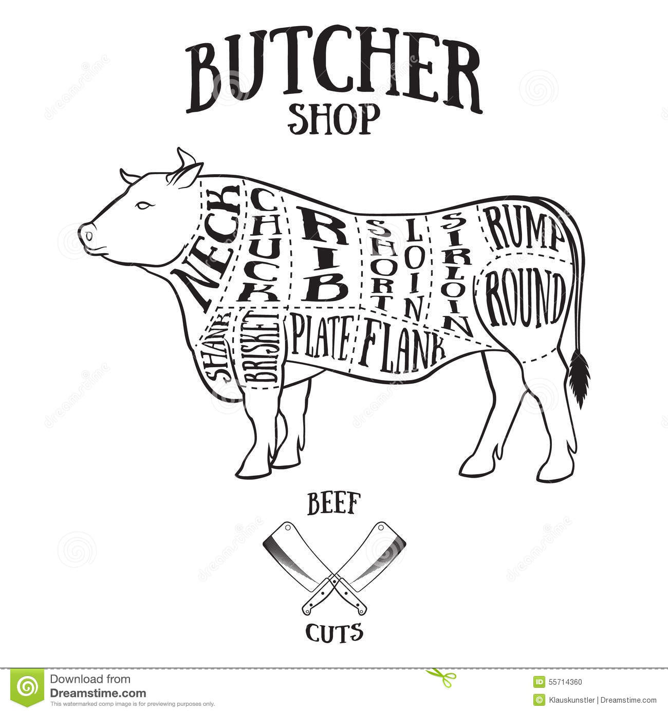 Butcher Cuts Scheme Of Beef Stock Vector