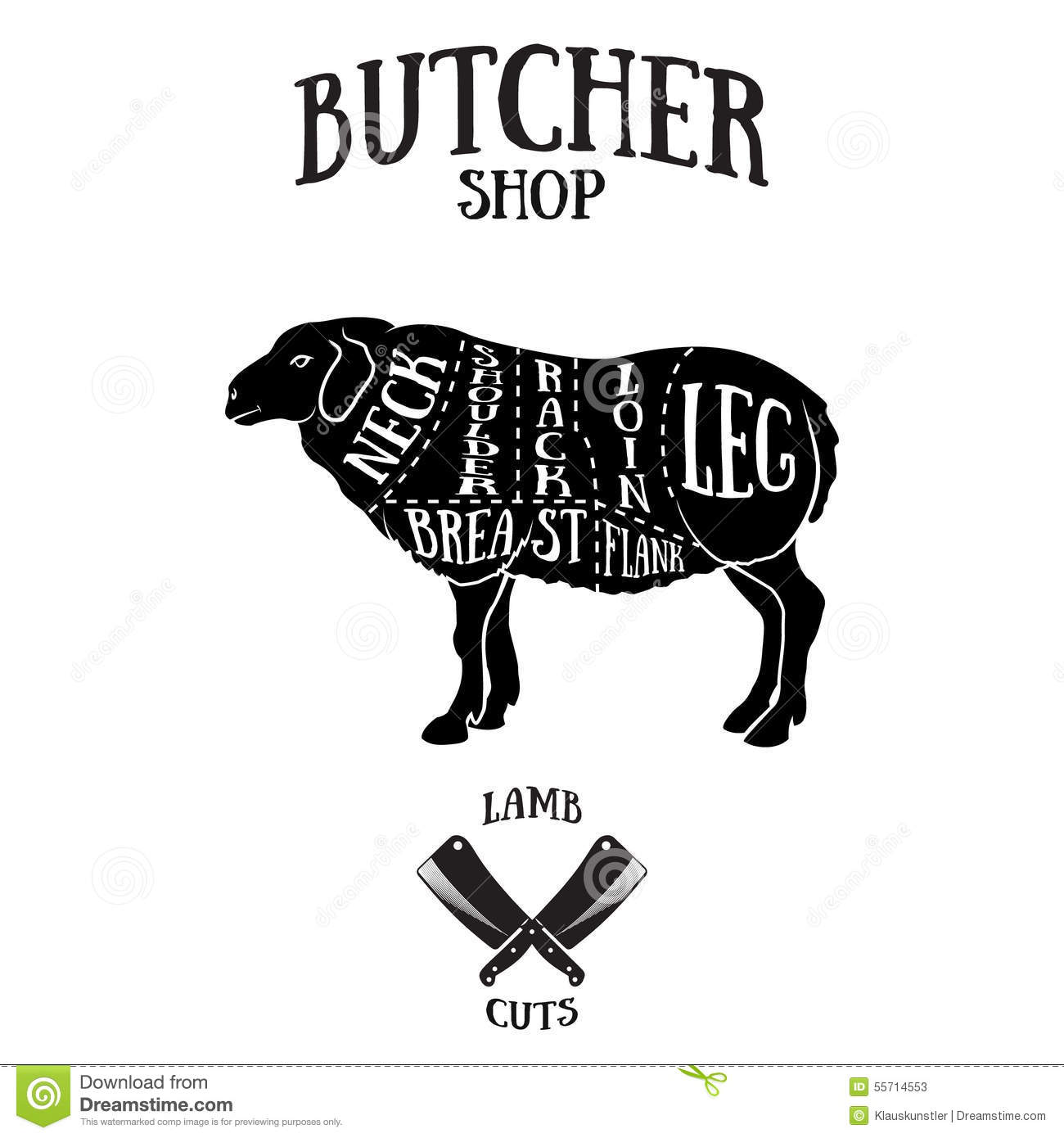 Butcher Cuts Scheme Of Lamb Or Mutton Stock Vector