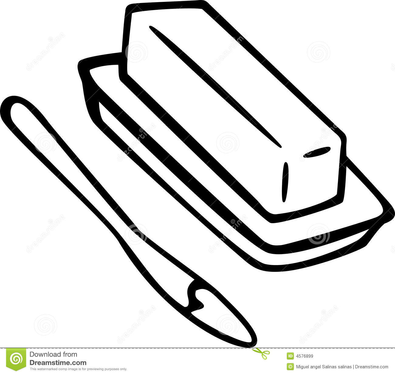 Butter In A Dish With A Knife Vector Illustration Stock
