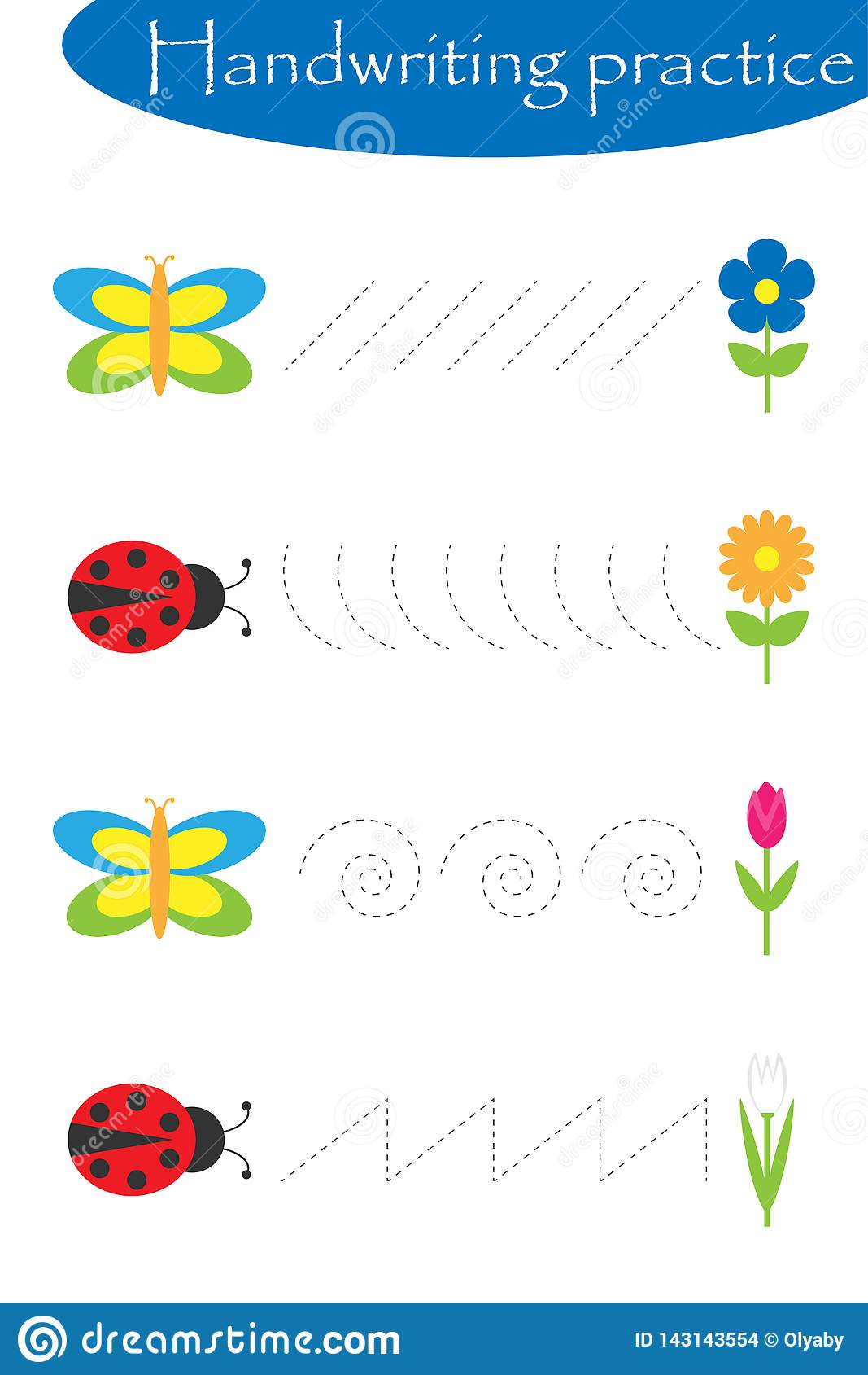 Butterflies And Ladybugs Spring Handwriting Practice