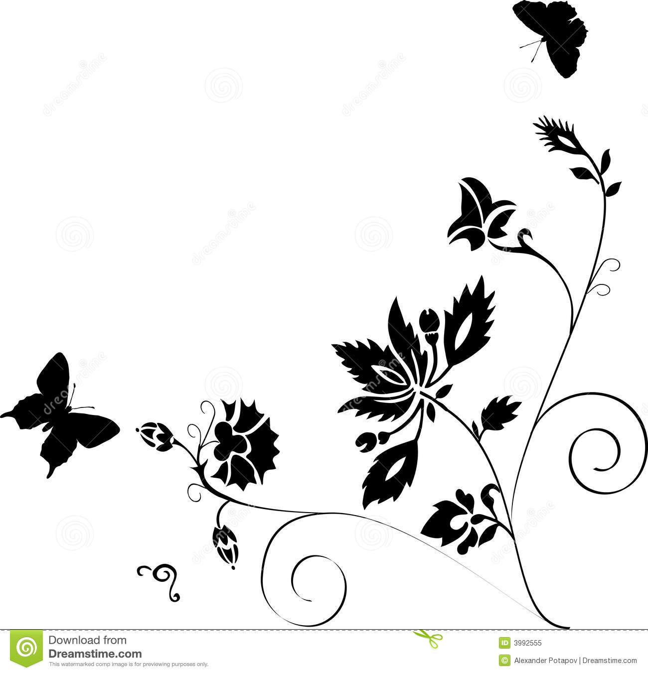 Butterflies Silhouette Decoration Royalty Free Stock Photo