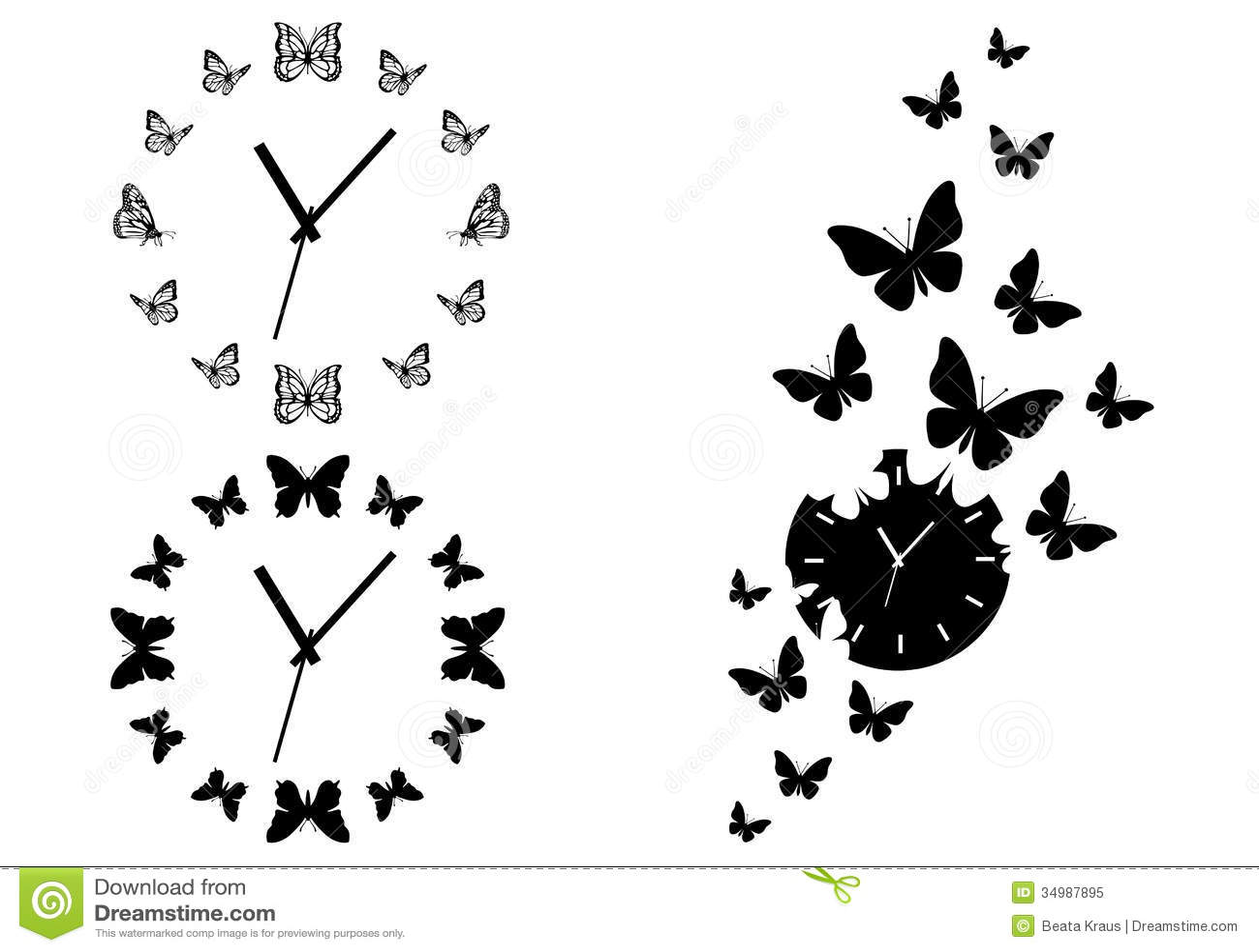 Butterfly Clocks Vector Set Stock Vector