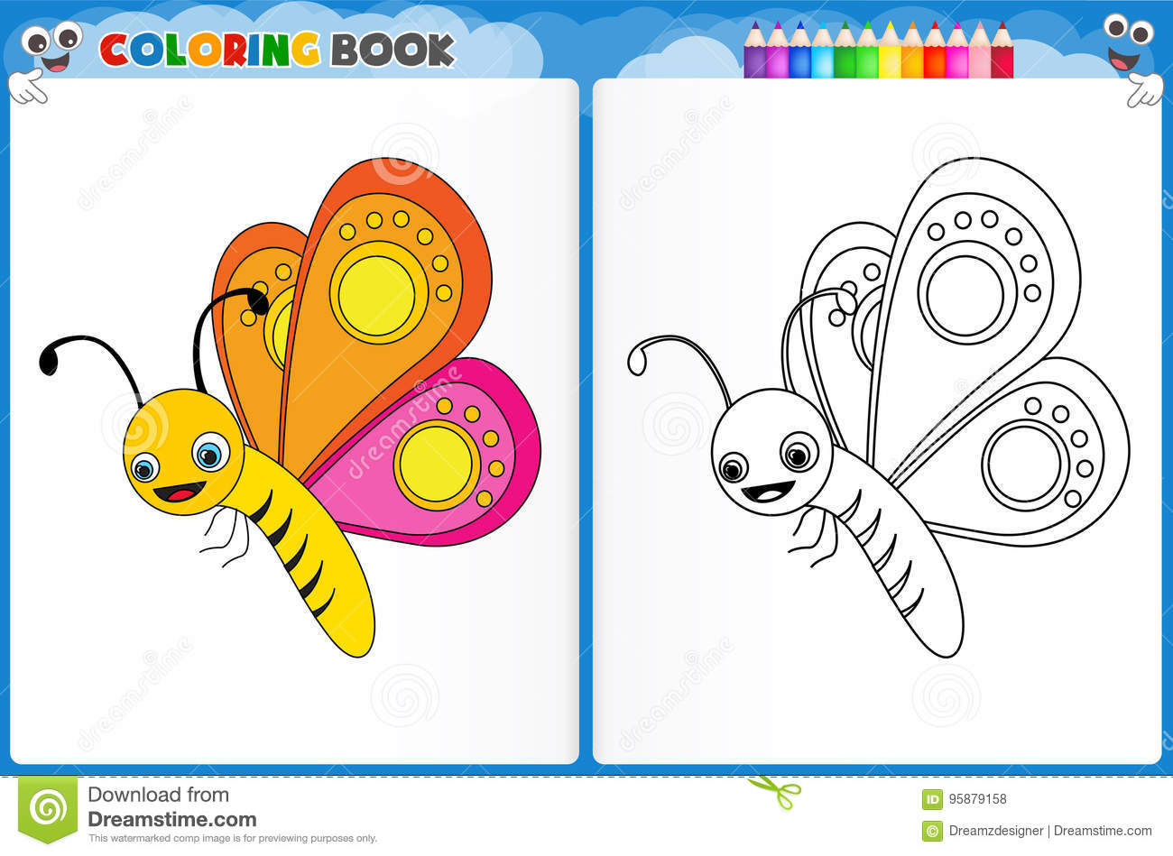 Butterfly Coloring Page Stock Illustration Illustration