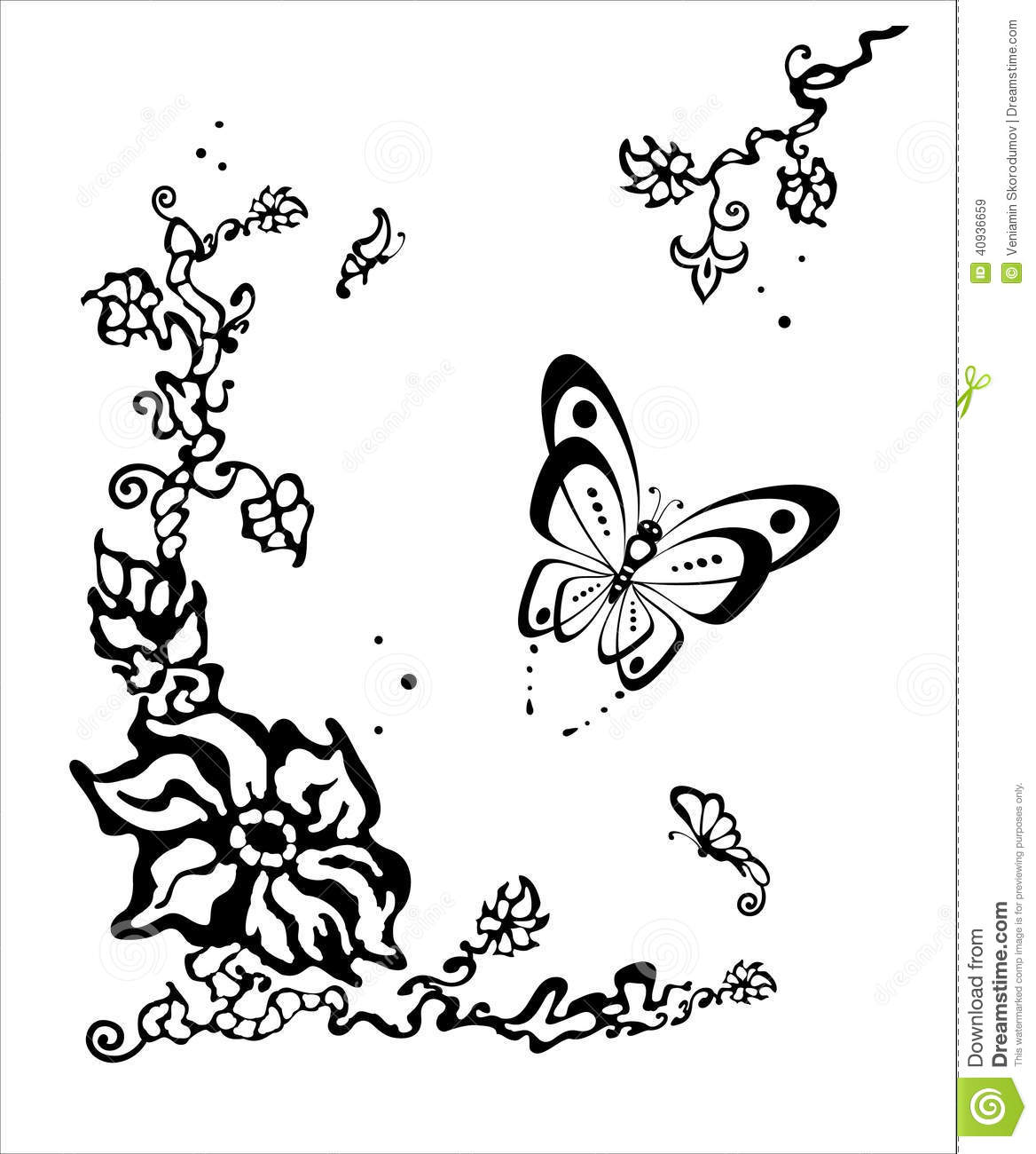 Butterfly Flitting Over A Flower Stock Vector