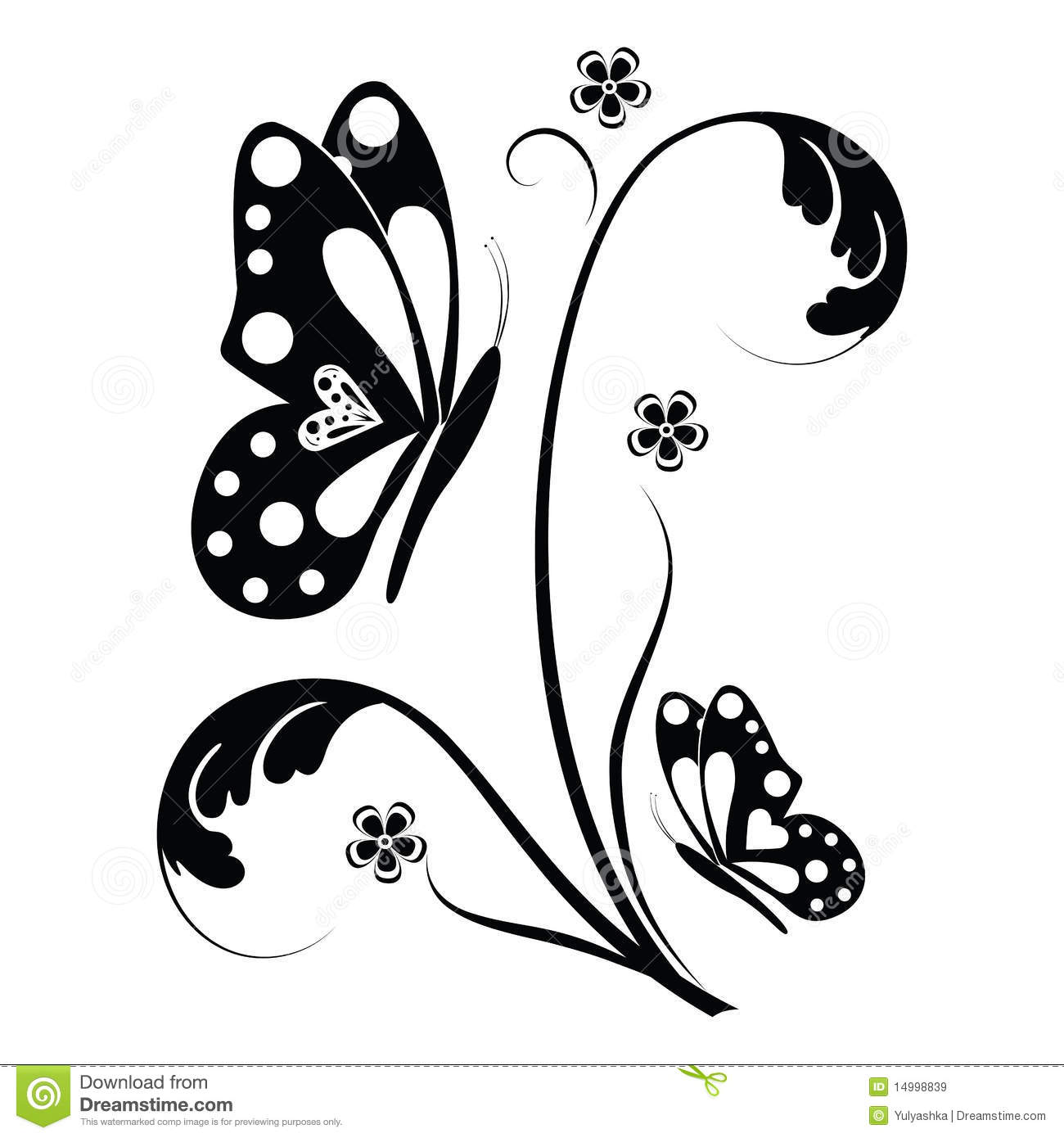Butterfly And Floral Scrolls Royalty Free Stock Images