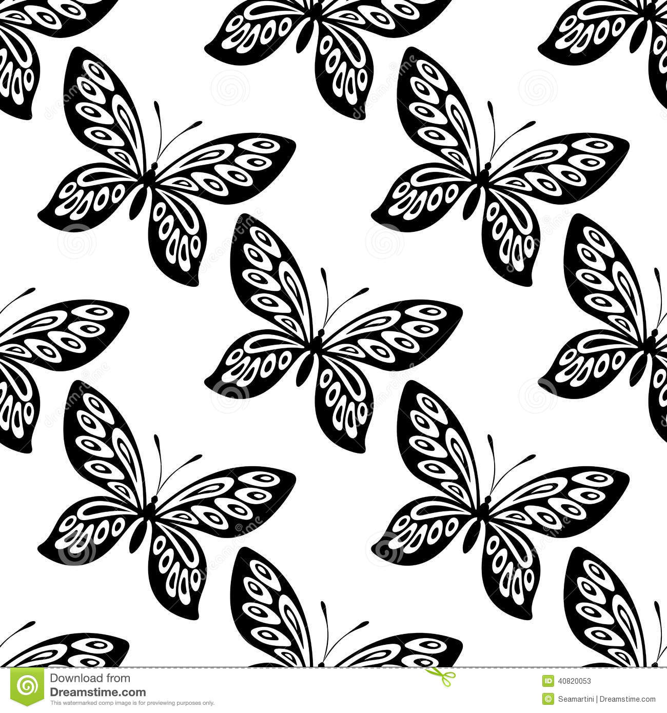 Butterfly Seamless Pattern Stock Vector Image Of Blue