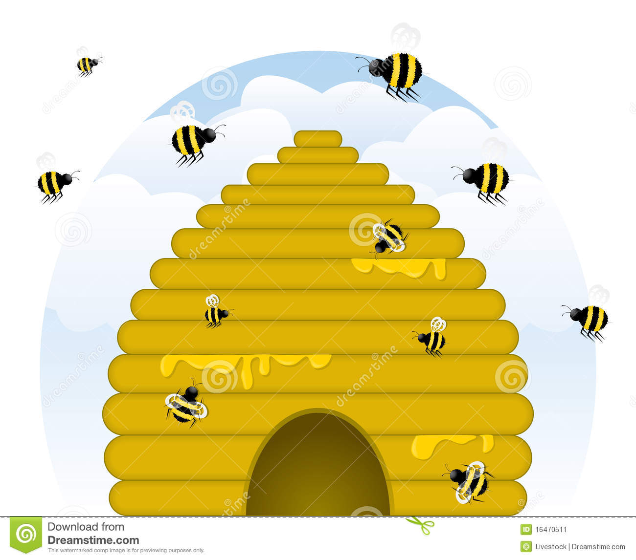 Buzzy Beehive Stock Vector Image Of Clip Insect Nature