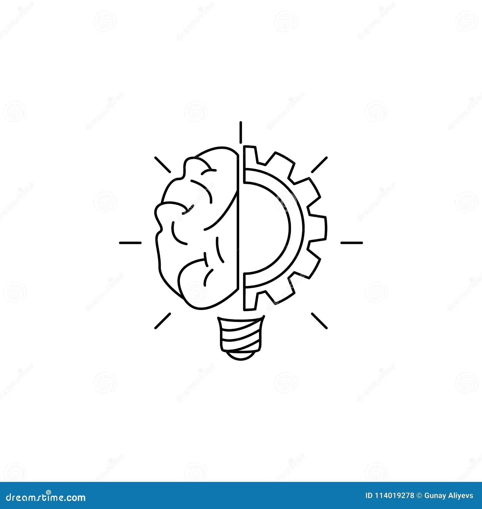 Cerebro Da Lampada E Icone Da Engrenagem Elemento Da Ideia E Das Solucoes Para Apps Moveis Do
