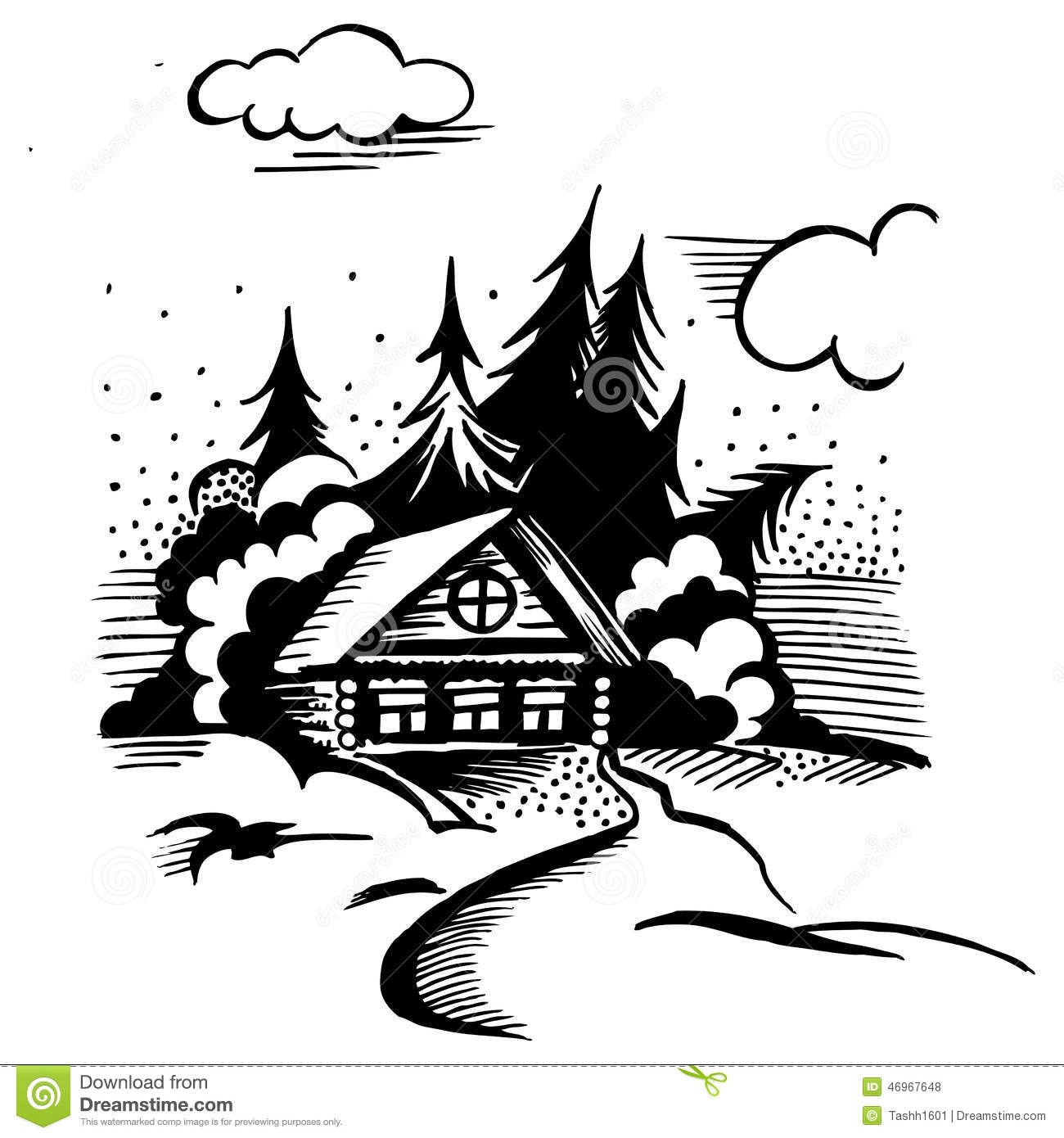 Cabin In The Woods Stock Vector Illustration Of