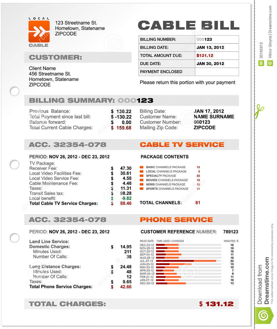 Cable Service Phone Bill Document Sample Template Stock