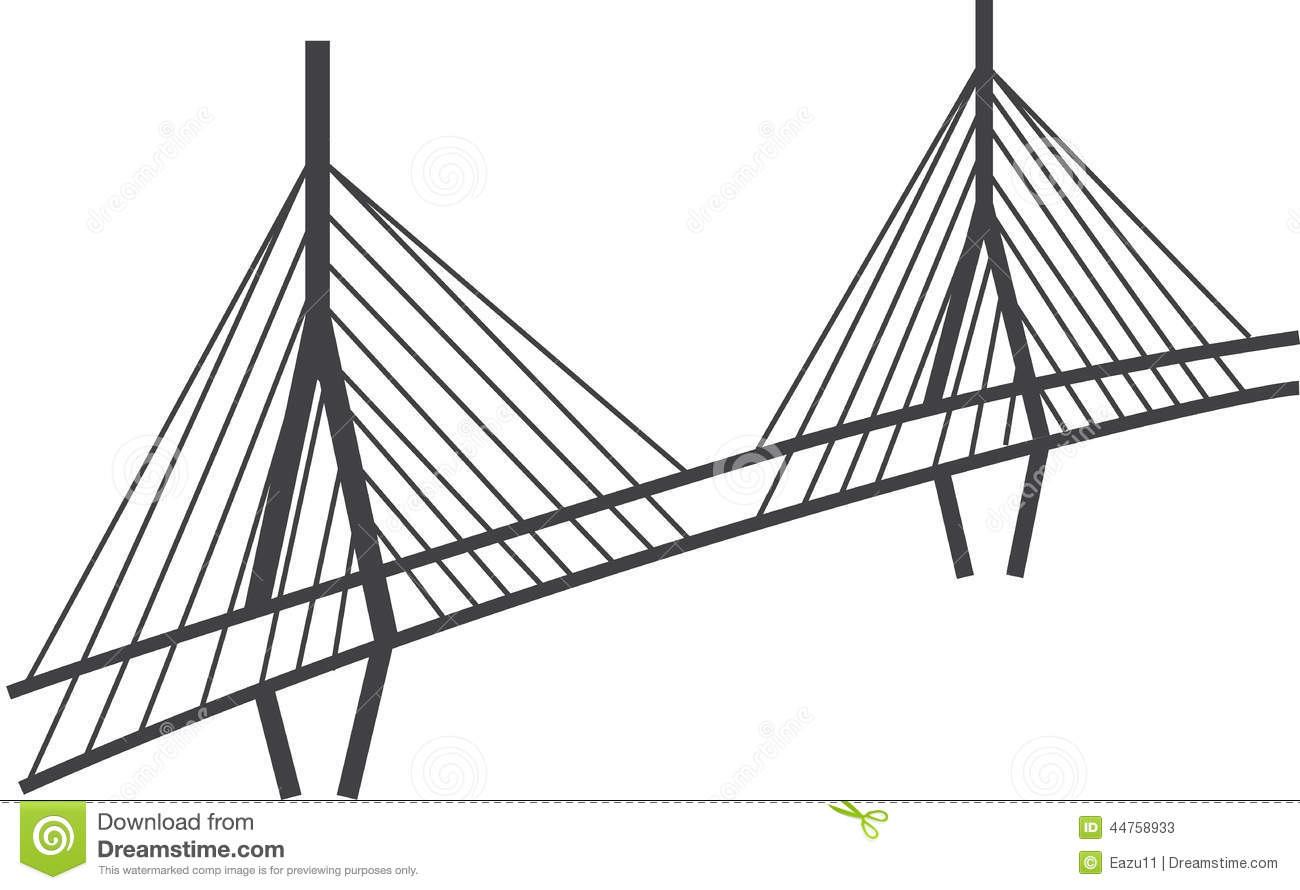 Cable Stayed Bridge Drawing Millau Viaduct France Stock