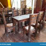 Cafe Or Restaurant Interior In Vintage Style With Colored Old Things Wooden Table And Chairs Interior Design Stock Photo Image Of Interior Brown 159420548
