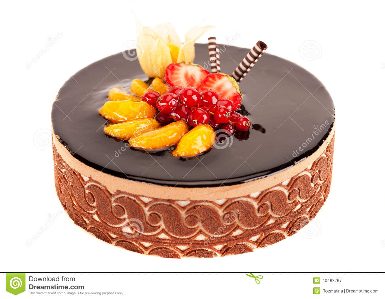 Cake With Berries Fruit And Chocolate Stock Photo Image