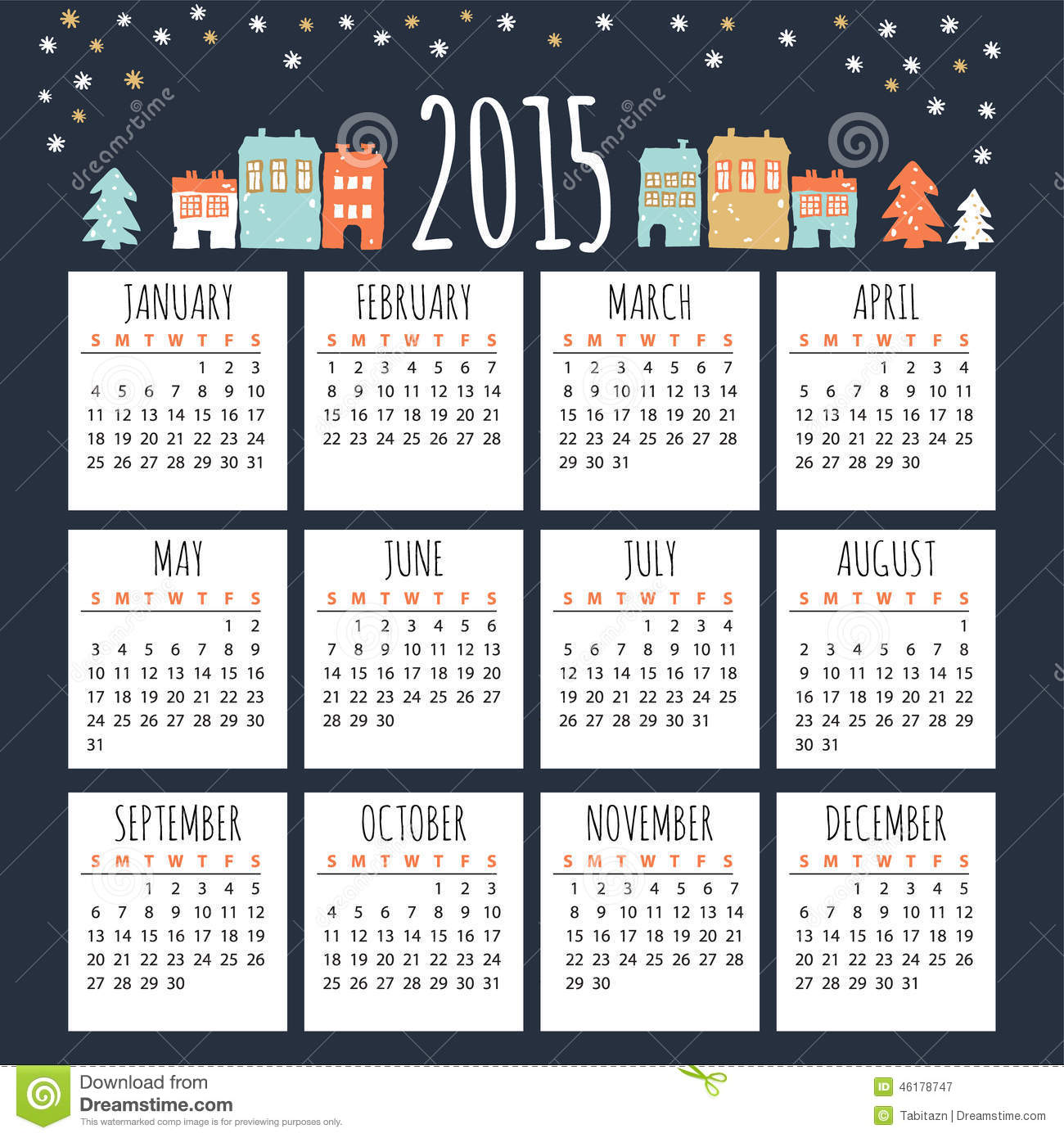 Calendar 2015 With Cute Winter Houses Illustration Stock Vector Image 46178747