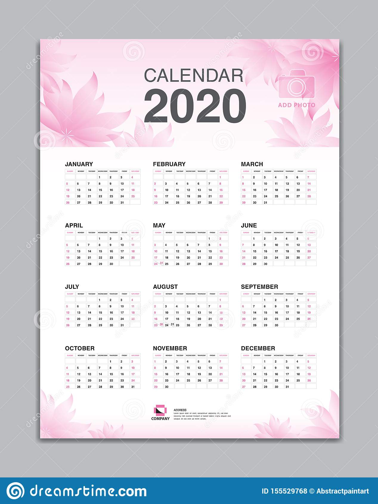 Calendar 15 Template, Wall Calendar 15 Vector, Desk Calendar