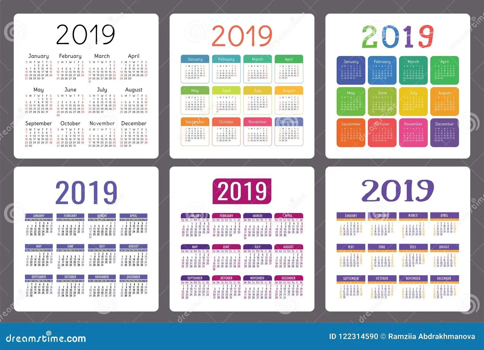 Calendario Anos Sistema Colorido Del Ingles Comienzo De La Semana El Domingo Coleccion De